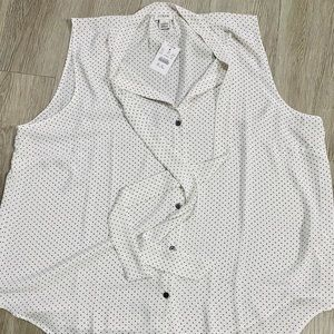 J. Crew Sleeveless Polka Dot Blouse